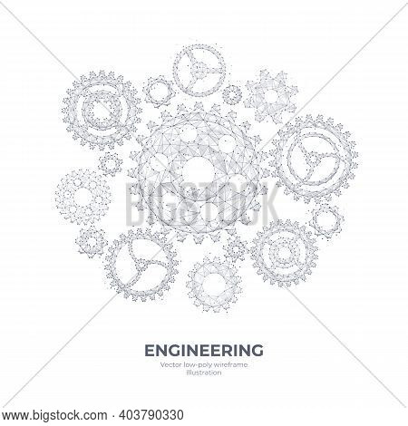 Abstract Vector 3d Gears Isolated In White Background. Cogs And Gear Wheel Mechanisms Wireframe. Eng
