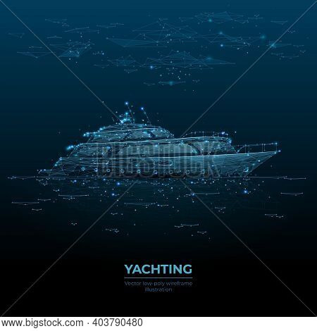 Digital Polygonal 3d Illustration Of Yacht In The Sea. Yachting Sport, Sailing, Business, Travel Con