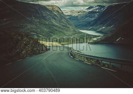 Scenic Alpine Route In Western Norway Near Famous Trollstigen Road. Raw Norwegian Landscape.