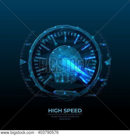 3d Car Speedometer In Dark Blue Background. Digital Low Poly Wireframe Of High Speed Concept. Abstra