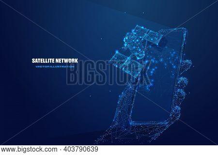 3d Satellite And Hand Holding Phone. Satellite Network Technology, Mobile Global Internet Communicat