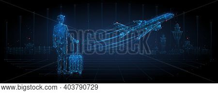 Digital 3d Man With Luggage Looking At Airplane Taking Off. Abstract Airport Departure Illustration.