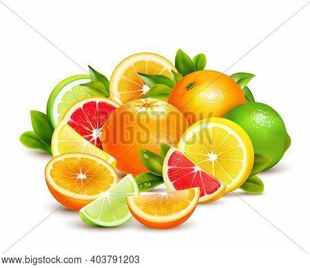 Citrus Fruit Whole Halves And Quarters Colorful Composition With Lime Lemon Grapefruit And Oranges R