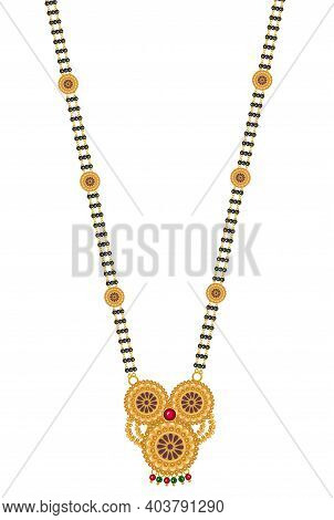 Designer Jewelry Mangal Sutra Necklace Set In Gold