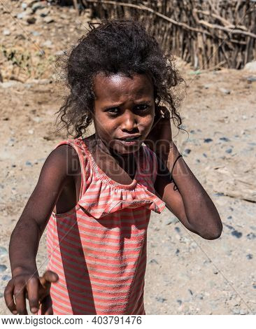 Aksum, Ethiopia - Feb 08, 2020: Ethiopian Girl On The Road From Axum To The Simien Mountains, North