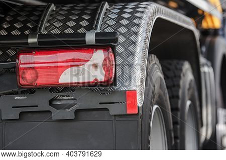 Rear Light Of Semi Truck. Heavy Duty Truck Transportation Industry. Automotive Theme.