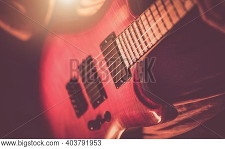 Music Industry Theme. Rockman Guitarist Playing Hard. Musician With Electric Guitar In His Hands Clo