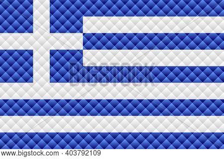 Mosaic Flag Of The Greece - Illustration,  Three Dimensional Flag Of Greece