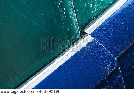 Frozen Car Door Opening Problem Automotive Seasonal Weather Issues. Vehicle Covered By Ice And Frost
