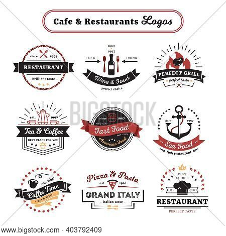 Cafe And Restaurant Logos Vintage Design With Food And Drinks Cutlery And Crockery Isolated Vector I