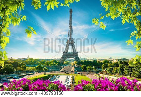 Paris Cityscape And Landmarks At Spring Day, France