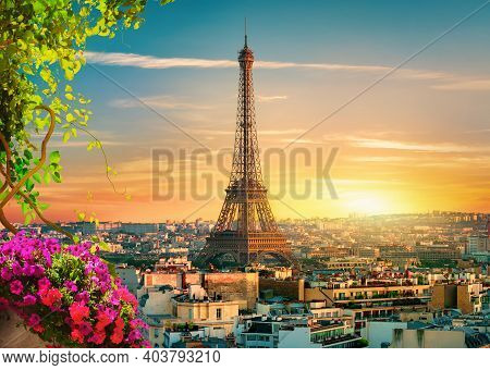 Paris Cityscape And Landmarks At Spring Evening, France