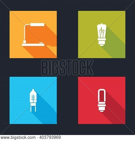 Set Table Lamp, Light Bulb, Emitting Diode And Led Light Icon. Vector