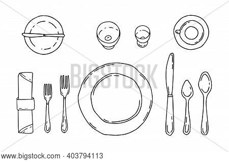 Table Setting Isolated On A White Background. Serving In Doodle Style With Plate, Forks, Spoons, Kni