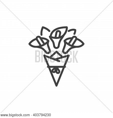 Wrapped Flower Bouquet Line Icon. Linear Style Sign For Mobile Concept And Web Design. Flower Bouque