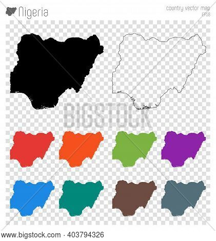 Nigeria High Detailed Map. Isolated Black Country Outline. Vector Illustration.