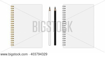 Vector Set Of Notebook Mockup (format: A5), With Gold And Silwer Spiral, Pencils. Eps 10