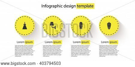 Set Lamp Hanging, Wall Lamp Or Sconce, Light Emitting Diode And Garden Light. Business Infographic T
