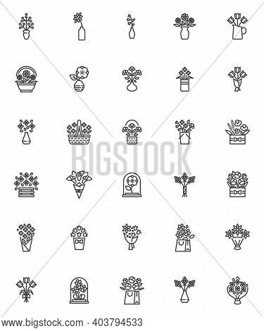 Flowers Bouquets Line Icons Set. Linear Style Symbols Collection, Outline Signs Pack. Vector Graphic