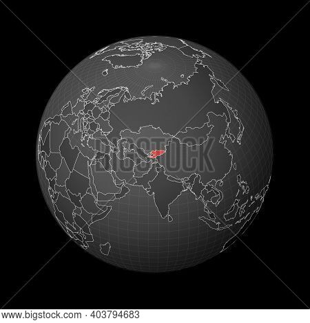 Dark Globe Centered To Kyrgyzstan. Country Highlighted With Red Color On World Map. Satellite World