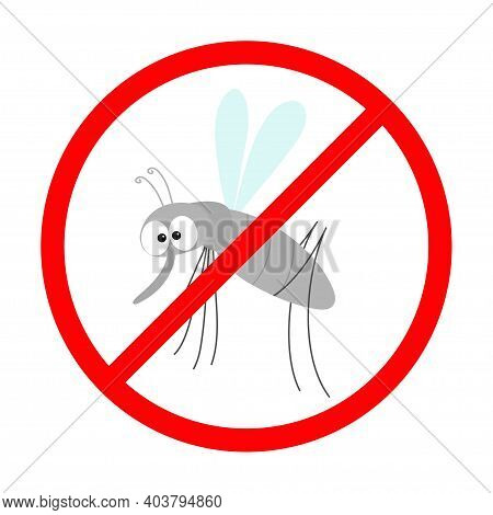 Prohibition Prohibit Red Stop Sign Icon. Cross Line. Mosquito. Cute Cartoon Funny Character. Insect