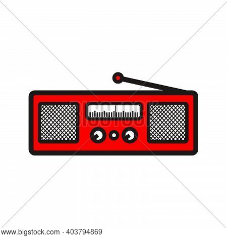 Red Classic Square Radio Style With Two Speaker - Red And Black Vintage Square Radio Tuner With Two