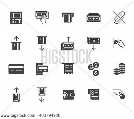 Atm Machine Flat Icon Set. Withdraw Money, Deposit, Hand Taking Cash, Receipt Black Minimal Silhouet
