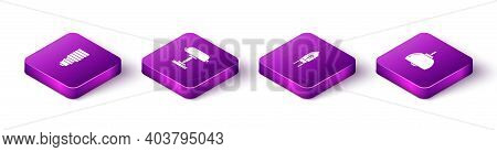 Set Isometric Led Light Bulb, Table Lamp, Light Emitting Diode And Chandelier Icon. Vector