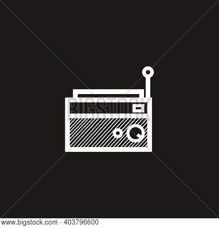 Simple Classic Square Radio Silhouette - Black And White Vintage Square Radio Tuner - Simple Vintage