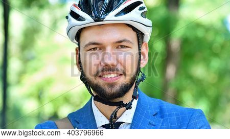 Happy Bearded Businessman In Helmet. Business And Urban Style Concept. Close Up