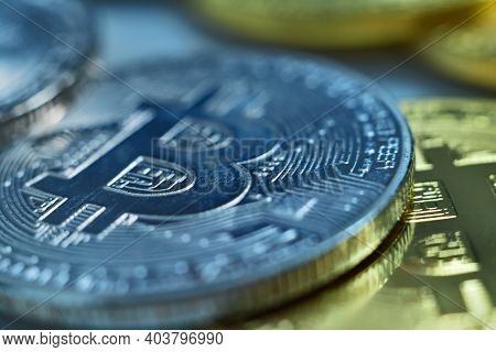 Silver And Golden Cryptocurrency Bitcoins. Virtual Money And Payment Concept. Close Up