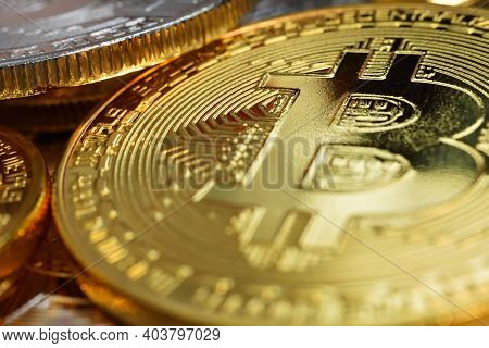 Close Up Of Golden Bitcoin Currency. Virtual Money And Payment Concept.