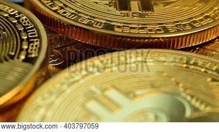 Golden Coins With Bitcoin Symbol. Cryptocurrency And Payment Concept. Close Up