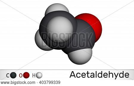 Acetaldehyde, Ethanal, Ch3cho Molecule. It Is Ketone, Is Used In The Manufacture Of Acetic Acid, Per
