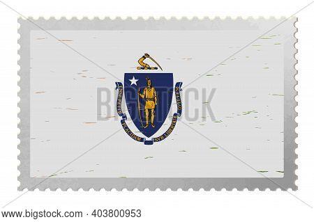Massachusetts Usa Flag On Old Postage Stamp, Vector