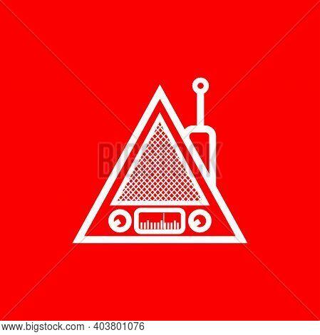 Silhouette Of Classic Triangle Portable Radio - Vintage Triangle Portable Radio Tuner - Vintage Clas
