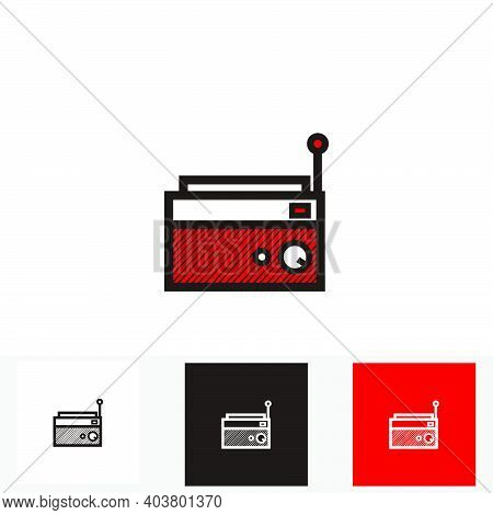 Red Classic Square Radio Style With Antenna - Silhouette Vintage Square Radio Tuner With Antenna - V
