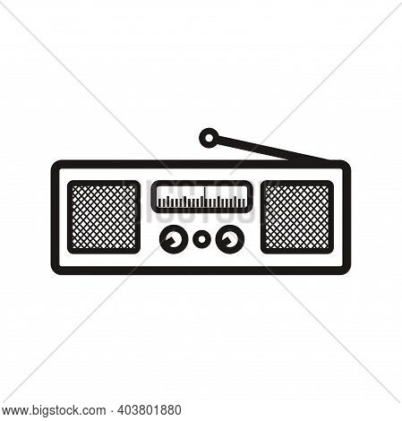 Silhouette Of Classic Square Radio Style With Two Speaker - Black And White Vintage Square Radio Tun