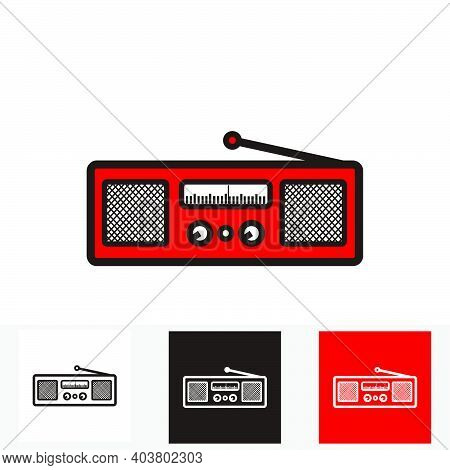 Red Classic Square Radio Style With Two Speaker - Silhouette Vintage Square Radio Tuner With Two Spe