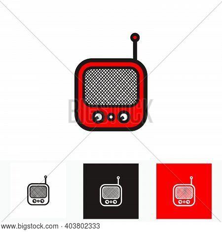 Red Classic Square Portable Radio - Silhouette Vintage Square Portable Radio Tuner - Vintage Classic