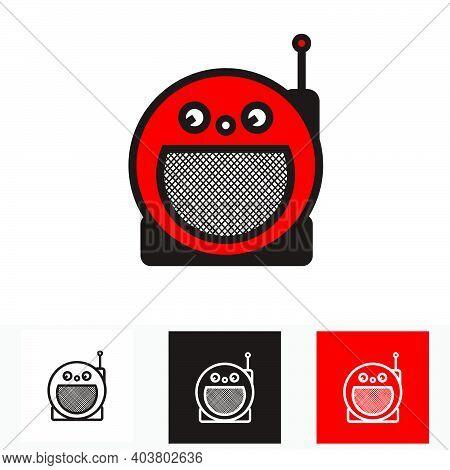 Red Classic Circle Portable Radio - Silhouette Vintage Circle Portable Radio Tuner - Vintage Classic