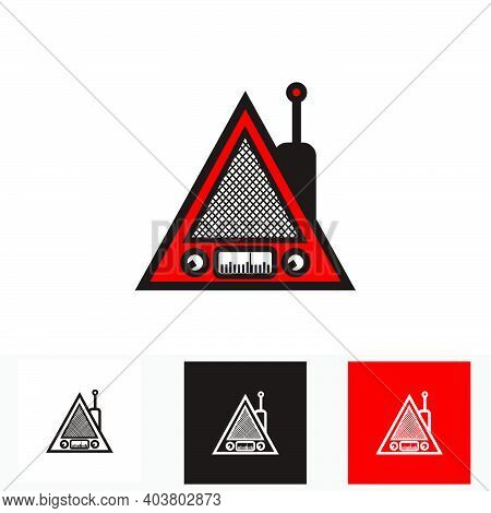 Red And Black Classic Triangle Portable Radio - Silhouette Vintage Triangle Portable Radio Tuner - V