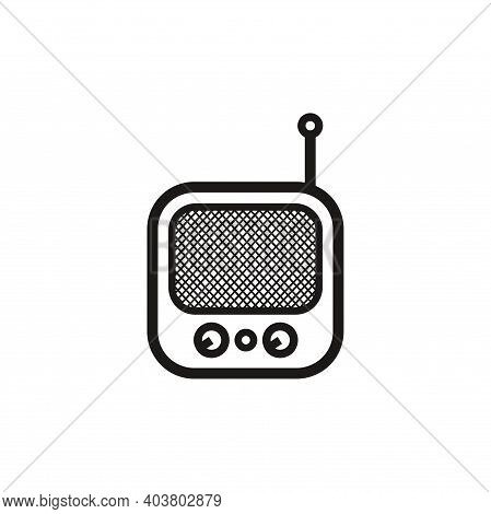Silhouette Of Classic Square Portable Radio - Black And White Vintage Square Portable Radio Tuner -