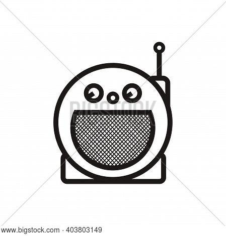 Silhouette Of Classic Circle Portable Radio - Black And White Vintage Circle Portable Radio Tuner -
