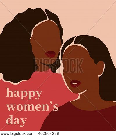 International Women's Day Vertical Card With Two Black Women Supporting Each Other. African American