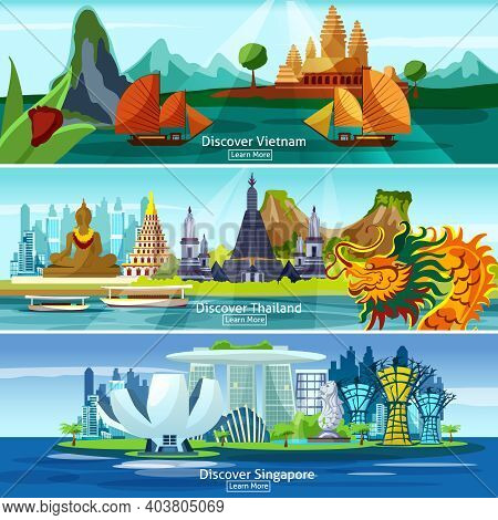 Asian Travel Banners Set With Vietnam, Thailand And Singapore Panorama Isolated Vector Illustration