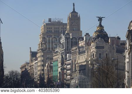Madrid, Spain - January 17, 2021: General View Of Alcala And Gran Via Streets With The Metropolis Bu