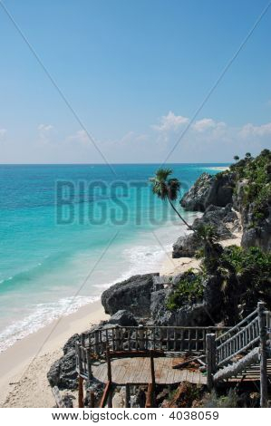 Stairs Leading Down To Caribbean Beach