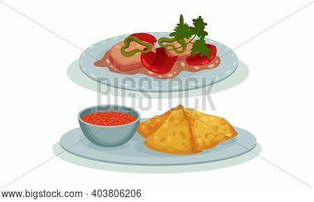Different Dish And Main Courses Served On Plate Vector Set