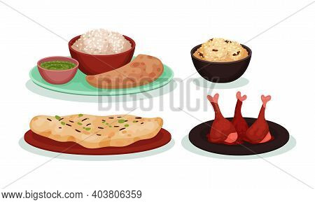 Different Dish And Main Courses Served On Plate And Bowl Vector Set